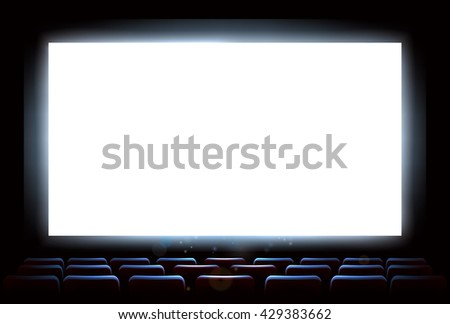 An illustration of the interior of a cinema movie theatre with copyspace on the  screen - stock photo