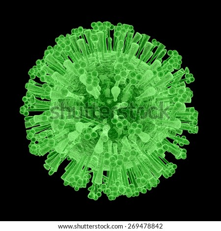 """An illustration of the isolated H1N1 Virus, commonly referred to as """"Swine Flu"""", up close on a dark background.  - stock photo"""
