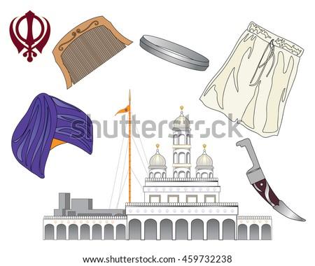 Illustration Symbols Sikh Faith Called Five Stock Illustration