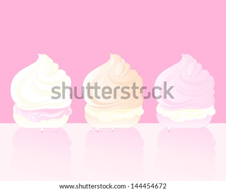 an illustration of three delicious swirly meringue treats with cream on a pink background