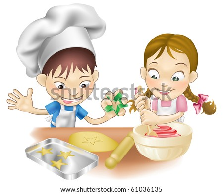 An illustration of two children having fun in the kitchen - stock photo