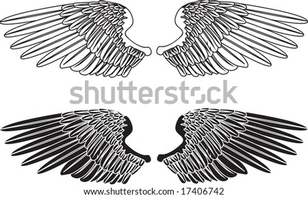 An illustration of two pairs of outstretched wings - stock photo