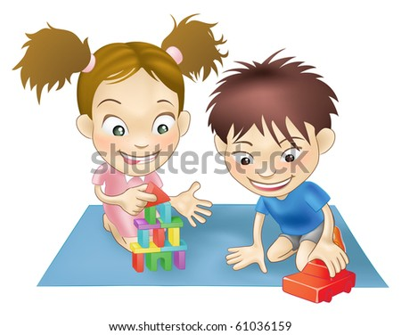 An illustration of two white children playing with toys. - stock photo