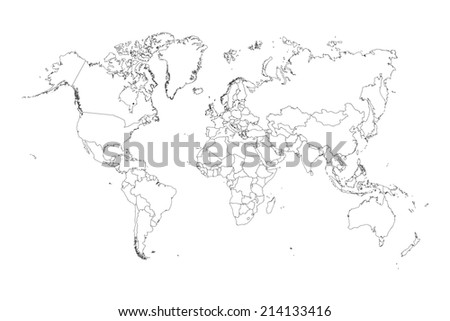 An Illustration of very fine outline of the world (with country borders) - stock photo