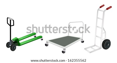 An Illustration of Warehouse or Construction Equipment, Hand Truck, Dolly and Fork Pallet Truck Isolated on White Background  - stock photo