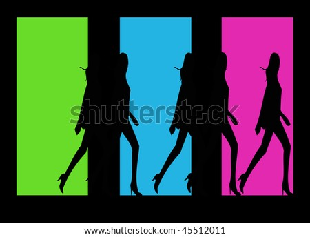 An illustration that shows three colored windows with women shadows