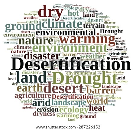 An illustration with word cloud about desertification - stock photo
