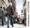 An illustrative image of steet life at Manhattan, New York - stock photo