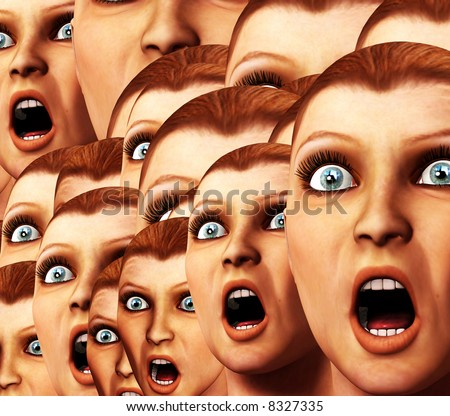 An image of a background made out of a load of surprised or scared women.
