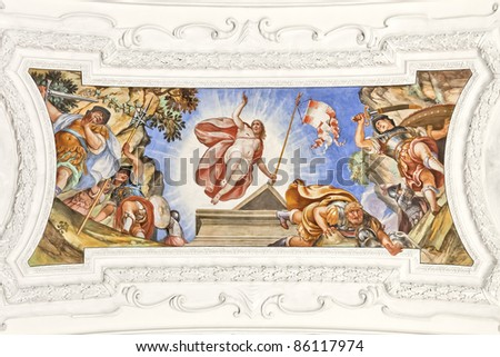 An image of a beautiful religious fresco in Benediktbeuern Germany - stock photo