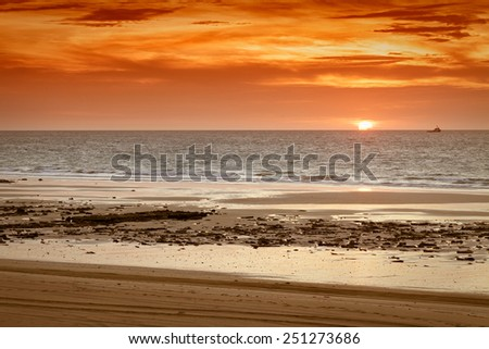An image of a beautiful sunset at Broome Australia - stock photo