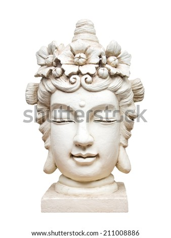An image of a beautiful white isolated buddha face sculpture - stock photo