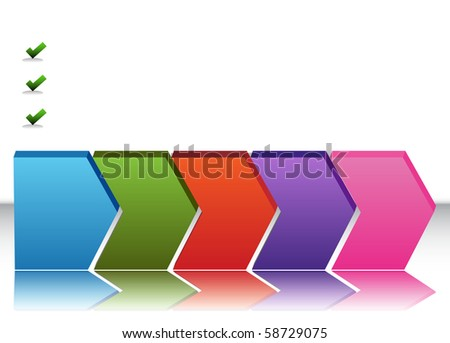 An image of a blank five stage chart. - stock photo