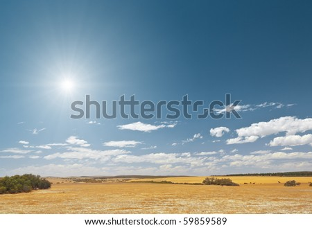 An image of a bright sky desert background - stock photo