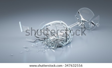 An image of a broken wine glass - stock photo