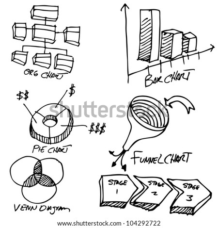 An image of a business chart object set. - stock photo