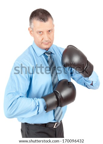 An image of a business man boxing - stock photo