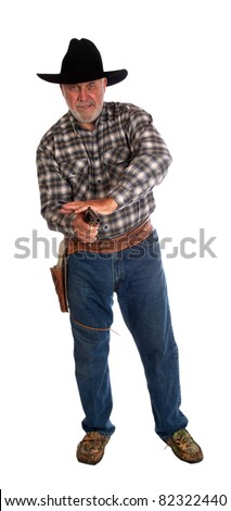 An image of a cowboy fast drawing and shooting his gun.