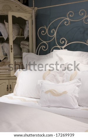 An image of a crisp detailed bedroom set - stock photo