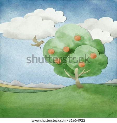 An image of a cut out paper landscape - stock photo