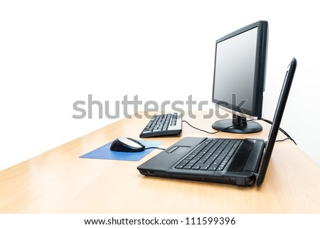 An image of a desktop with notebook background - stock photo