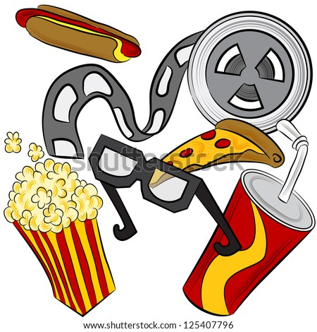 An image of a film reel, 3d glasses and movie theater food. - stock photo