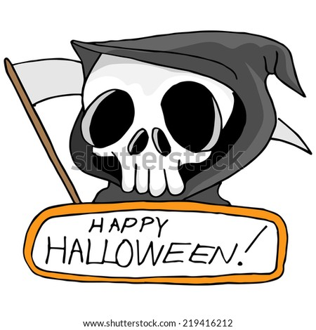 An image of a grim reaper with Happy Halloween text.