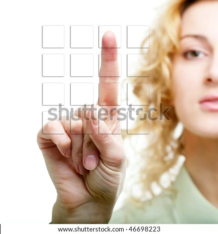 An image of a hand touching buttons - stock photo