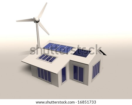 An image of a home powered by wind and solar energy - stock photo