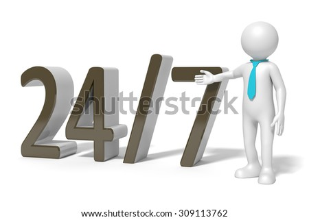 An image of a 24 hours on 7 days service - stock photo