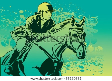 An image of a jockey who is galloping on her horse - stock photo