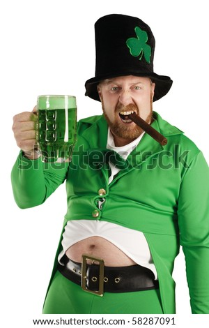 An image of a Leprechaun drinking green beer on St. Patricks Day. - stock photo