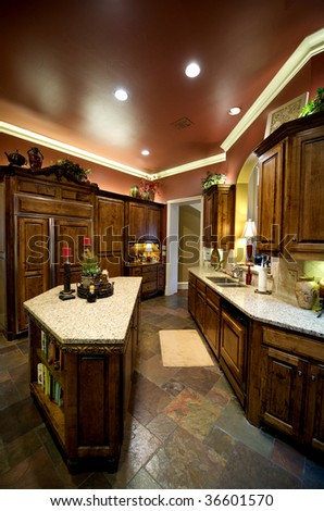 An image of a luxuriously decorated kitchen - stock photo