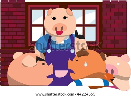 An image of a mama pig talking to her three little pigs, and one of the little pigs is shedding tears - stock photo