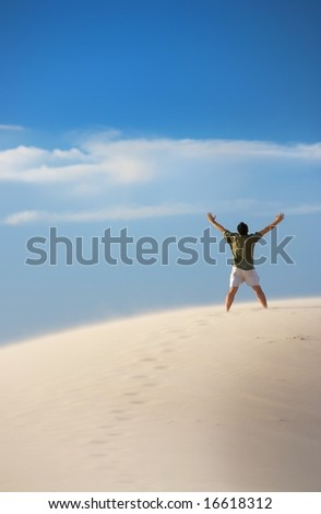 An image of a man finally reaching success - stock photo