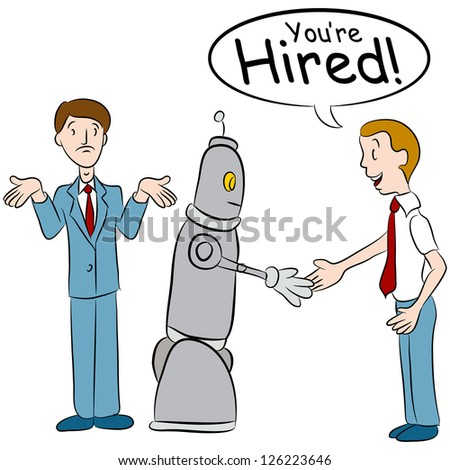 An image of a man losing a job to a robot. - stock photo