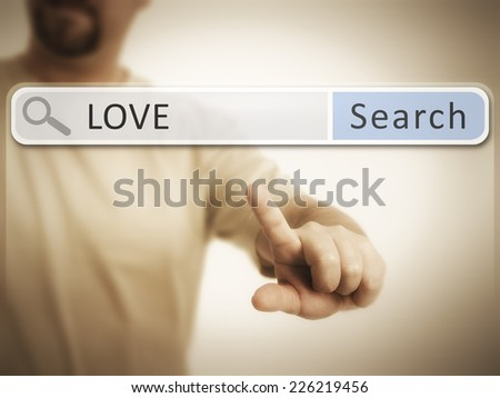 An image of a man who is searching the web after love - stock photo