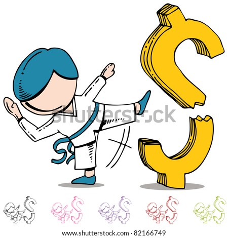 An image of a martial arts man kicking and breaking a dollar sign. - stock photo