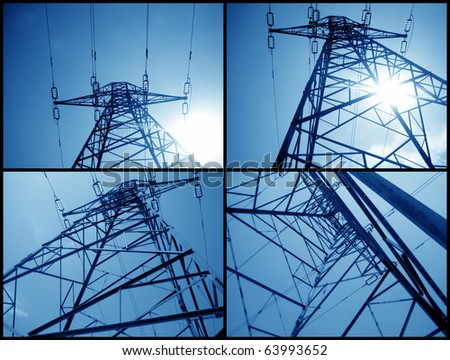 an image of a metal tower of Power Lines - stock photo