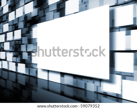 An image of a moving picture wall - stock photo
