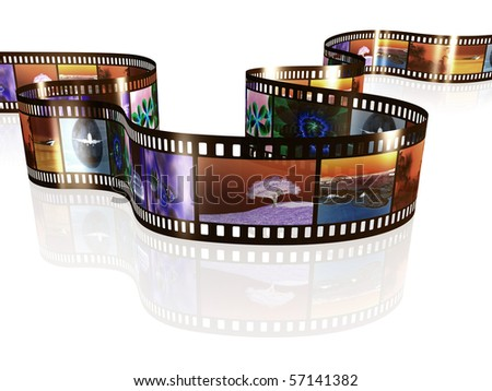 An image of a negative film strip with nice pictures - stock photo