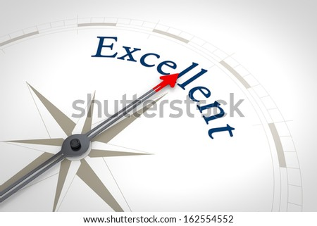 An image of a nice blue compass with the word Excellent - stock photo