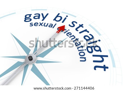 An image of a nice blue compass with the word sexual orientation gay bi straight - stock photo