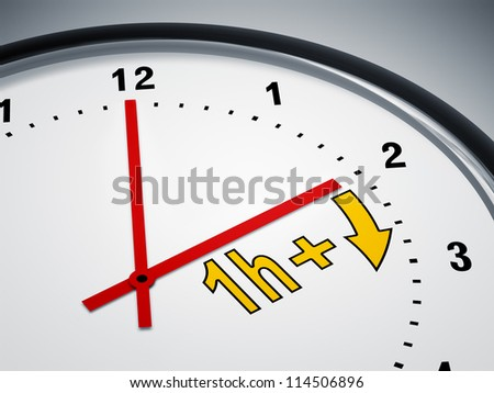 An image of a nice clock showing daylight saving time - stock photo