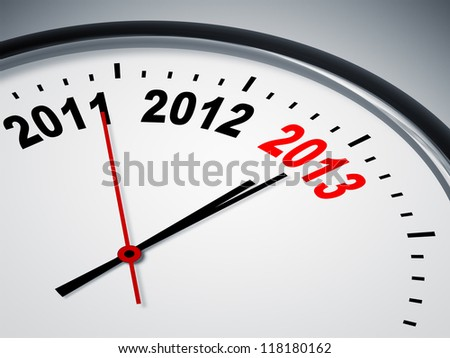 An image of a nice clock with 2011 2012 2013 - stock photo