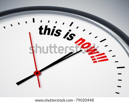 An image of a nice clock with this is now - stock photo