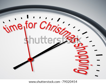 An image of a nice clock with time for christmas shopping