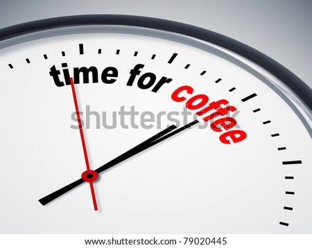 An image of a nice clock with time for coffee