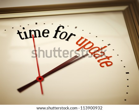 An image of a nice clock with time for update - stock photo