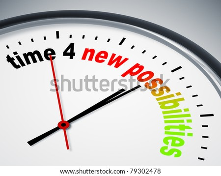 An image of a nice clock with time 4 new possibilities - stock photo